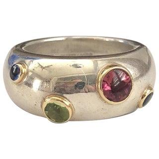 Tiffany & Co. Sterling 18k Gold Gemstone Ring For Sale