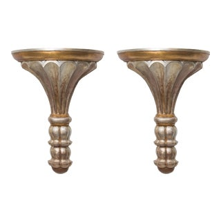 Pair of Silver and Gold Leaf Neoclassical Style Wall Brackets For Sale