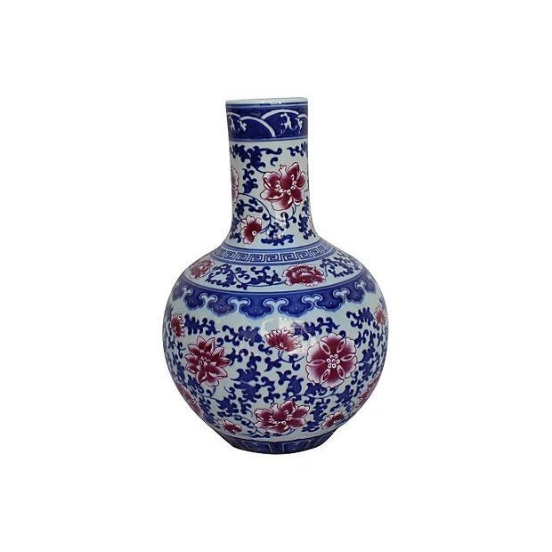 Chinese Blue, White, & Pink Floral Vase - Image 1 of 5