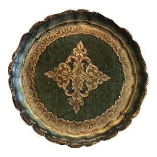 1950s Florentine Round Tray For Sale