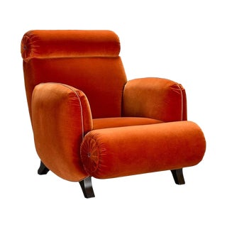 Boho Chic Henrendon Burnt Orange Bolton Road Lounge Chair For Sale