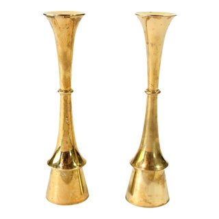 1960's Jens Quistgaard Solid Brass Tulip Danish Design Candlestick Holder Pair - Set of 2 For Sale