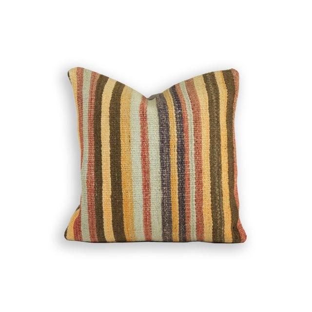 Striped Yellow Turkish Kilim Pillow - Image 2 of 3