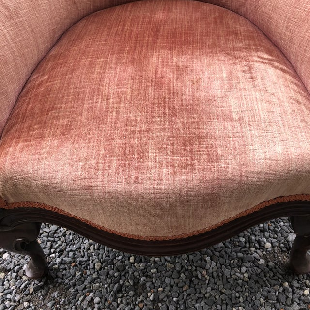 French Antique French Carved Velvet Upholstered Barrel Tub Chair For Sale - Image 3 of 14