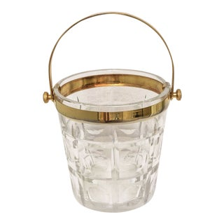 Hollywood-Regency Style Ice Bucket in Crystal with Brass Trim: American, 1940s For Sale
