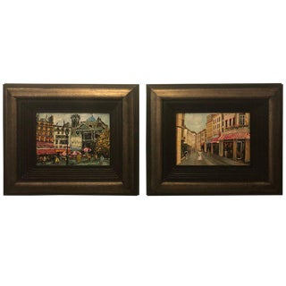 Pair of Oil on Canvas Parisian Street Scenes Signed R. Roywilsens For Sale