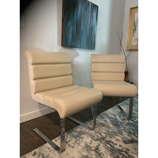 Ivory Mariani Laguna Pace Cantilevered Chrome and Leather Dining Chairs - Set of 8 For Sale - Image 8 of 11