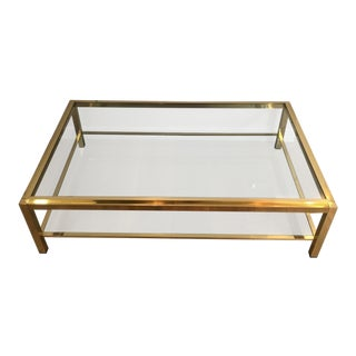 Large 1970's Brass and Glass Coffee Table Attributed to Willy Rizzo