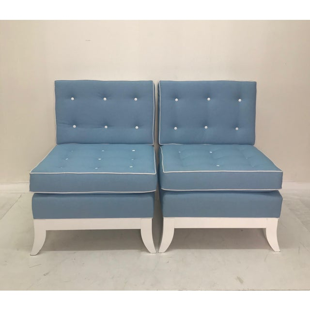 Textile Light Blue Slipper Chairs - a Pair For Sale - Image 7 of 7