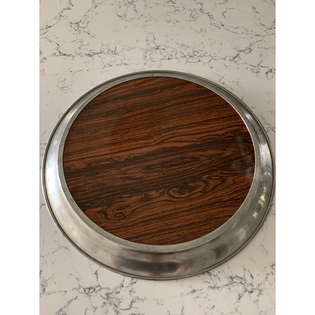 Mid-Century Modern Mid 20th Century Vintage A. L. Hanle Pewter & Rosewood Formica Serving Tray For Sale - Image 3 of 8