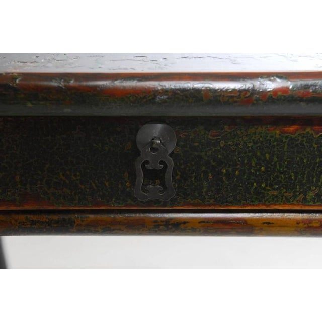 Brass Chinese Deco Lacquered Desk With Serpentine Legs For Sale - Image 7 of 9