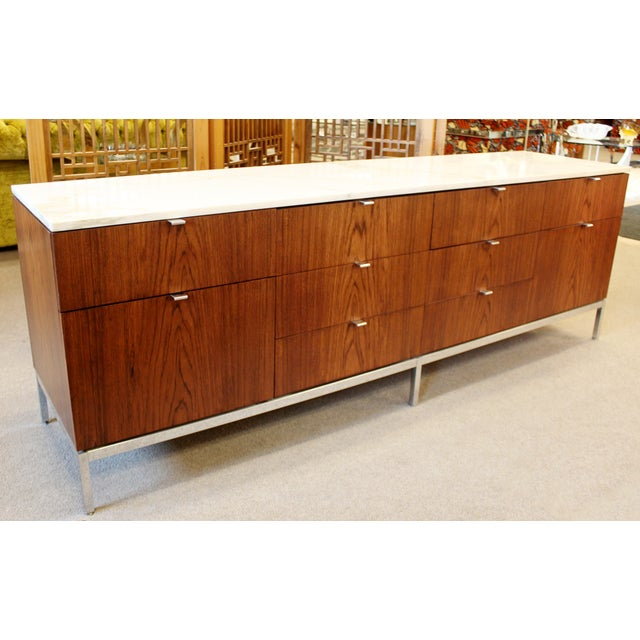 Metal Mid-Century Modern Florence Knoll for Knoll Int. Rosewood Marble Credenza, 1960s For Sale - Image 7 of 12