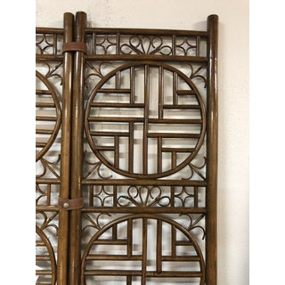 Chinoiserie Bamboo Leather Strapped Folding Screen Preview