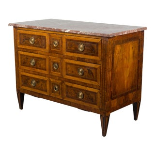 18th Century Louis XVI Marquetry Walnut Commode For Sale