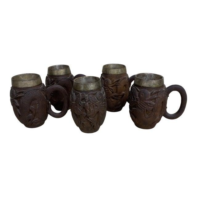 Sheesham Wood Dragon Carved Tankards - Set of 5 For Sale