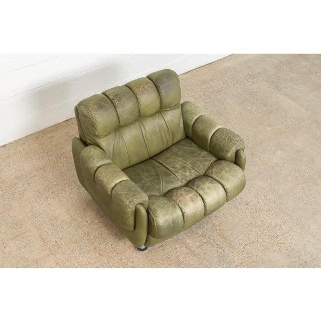 1970s Vintage Mid Century Green Leather Lounge Chair in the Style of Percival Lafer, 1970s, Matching Sofa Available For Sale - Image 5 of 11