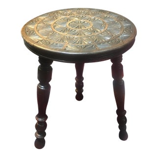 Antique English Carved Top Pyrography Stool