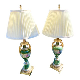 Rembrandt Lamp Co. Chinoiserie Gilt Porcelain Urn Lamps - a Pair For Sale