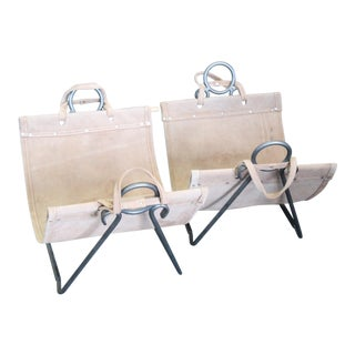 Leather and Iron Firewood Holders - a Pair For Sale