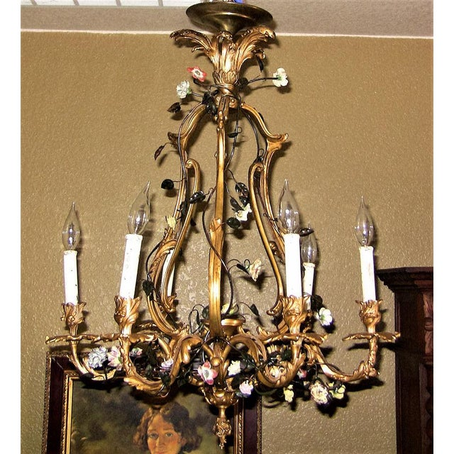 19c French Gilt Bronze Chandelier With Porcelain Flowers For Sale - Image 10 of 13
