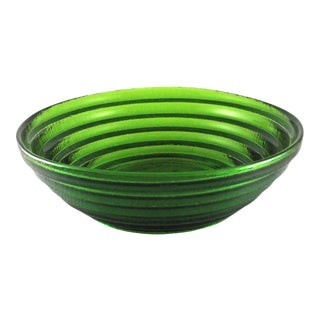 2000 Blenko Mold Blown Emerald Stepped Glass Serving Bowl, #9608l Matt Carter Designer For Sale