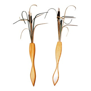 Contemporary Hand Turned Wood Wall Vases With Cattails - a Pair For Sale