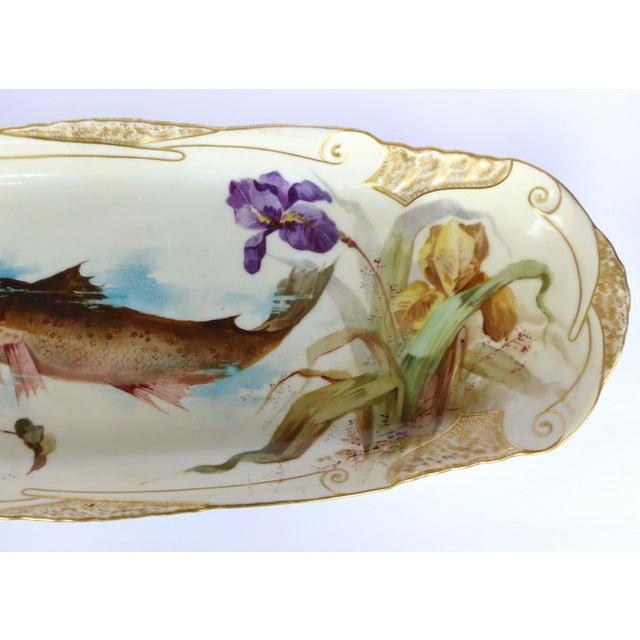 Limoges, France 1900 J. Etienne Hand-Painted Limoges Porcelain Fish Platter For Sale - Image 4 of 11