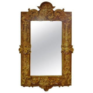 Trompe l'Oeil Hand Carved Mirror by Patina For Sale