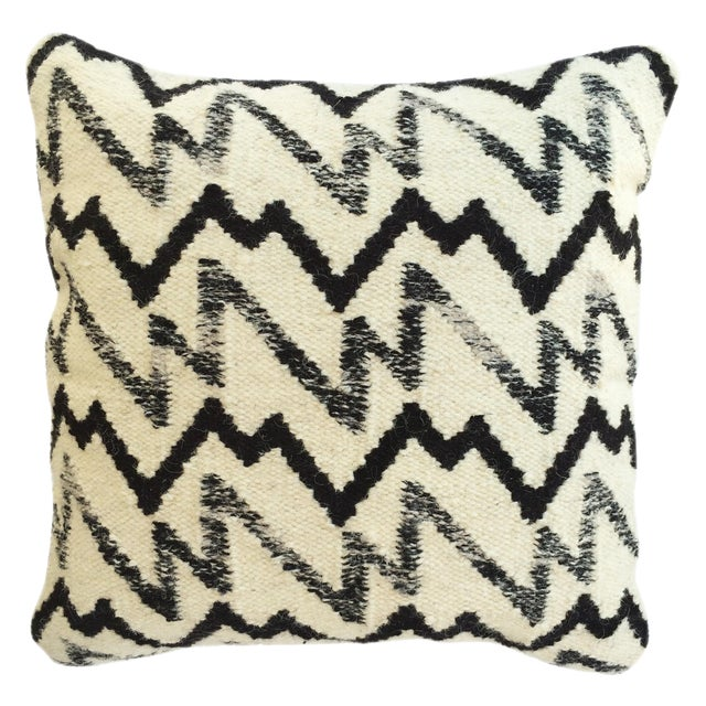 Black & Ivory Wool Pillow - Image 1 of 3