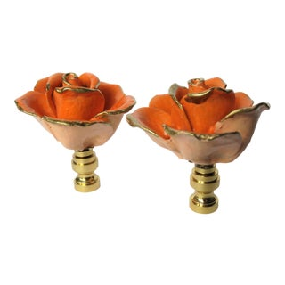 Vintage Italian Porcelain Rose Finials by C. Damien Fox For Sale