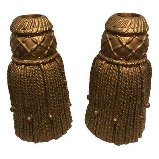 Large Vintage Ceramic Fringe Tassel Candle Holders – a Pair