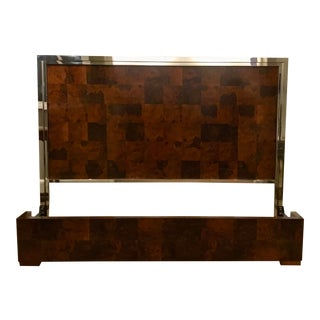 Art Deco Universal Furniture Burl Wood and Polished Nickel King Bedframe For Sale