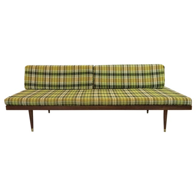 Mid-Century Green Plaid Daybed Sofa For Sale