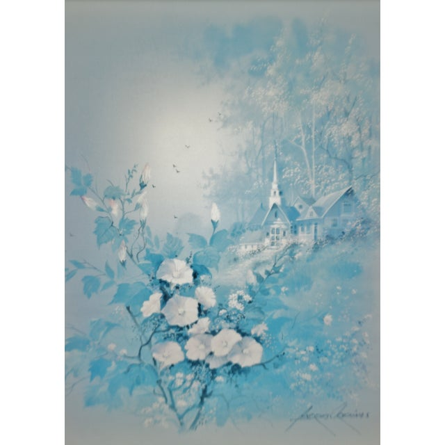 Late 20th Century Vintage Framed Andres Orpinas Blue Monochromatic Landscape Print For Sale - Image 5 of 13