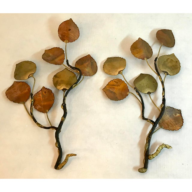 Mid 20th Century Vintage Jere Style Metal Leaf Wall Art - Set of 2 For Sale - Image 5 of 6