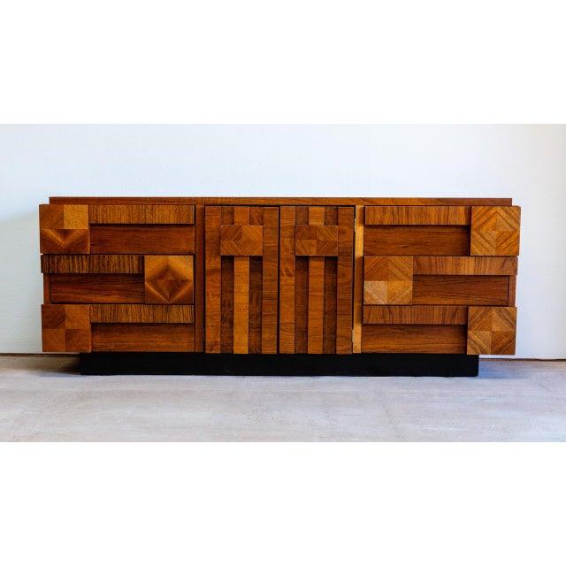 Brown Mid Century Modern Lane Mosaic Brutalist Dresser For Sale - Image 8 of 8