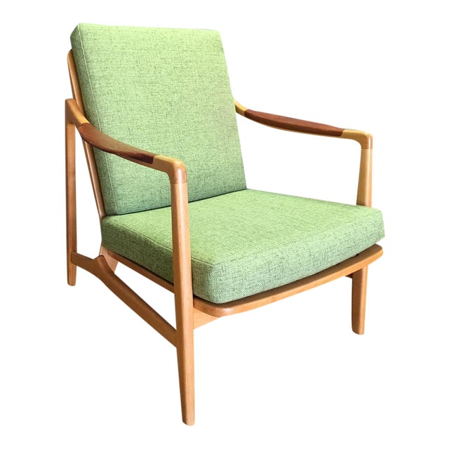Light Green Mid-Century Modern Armchair - Image 1 of 7