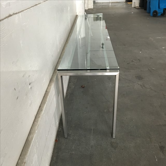 Modern Custom Steel & Glass Console Table - Image 5 of 9