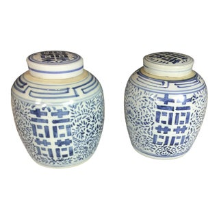 Vintage Blue and White Floral Glazed Porcelain Ginger Jars - a Pair For Sale