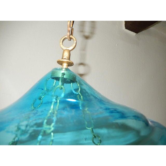 English Cobalt Blue Bell Jar Lantern Chandelier For Sale - Image 11 of 13