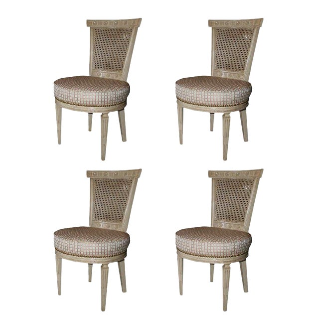 Set of Four White Painted Cane Back Chairs Stamped Jansen For Sale