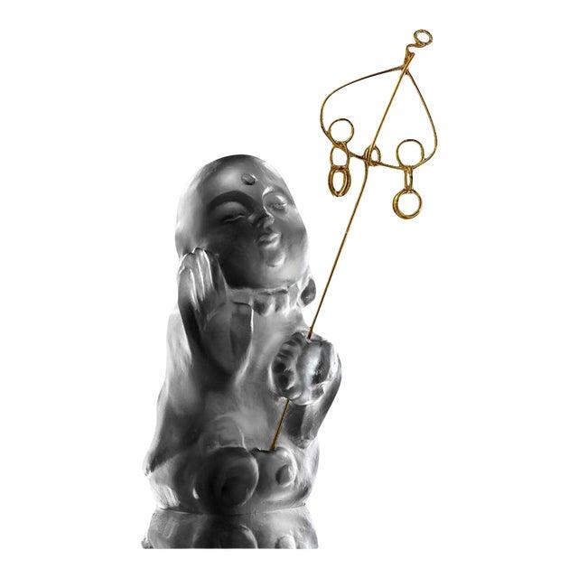 "Crystal Buddha, ""Joyous and Worry-Free, I Am Not Afraid"" in Dark Grey For Sale"