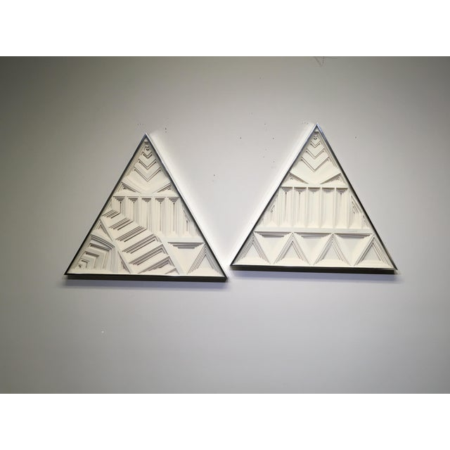 Stunning unique Greg Copeland 3 Dimensional Wall Sculptures. Features a pair of triangular wall sculptures that...