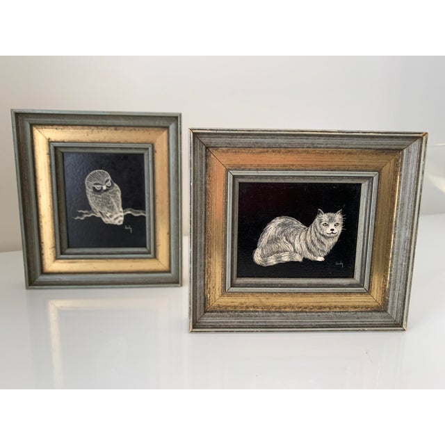 Shabby Chic Vintage Framed & Signed Scratch Art - a Pair For Sale - Image 3 of 11