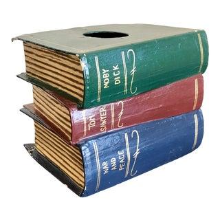 Trompe l'Oeil Papier Mache Stacked Books Tissue Box Cover For Sale