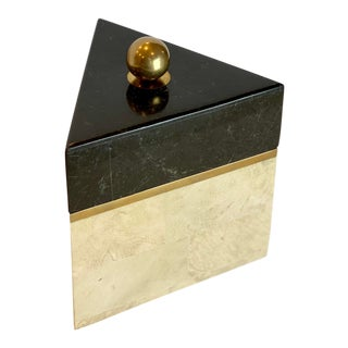 1990s Postmodern Tessellated Stone and Brass Triangle Box For Sale