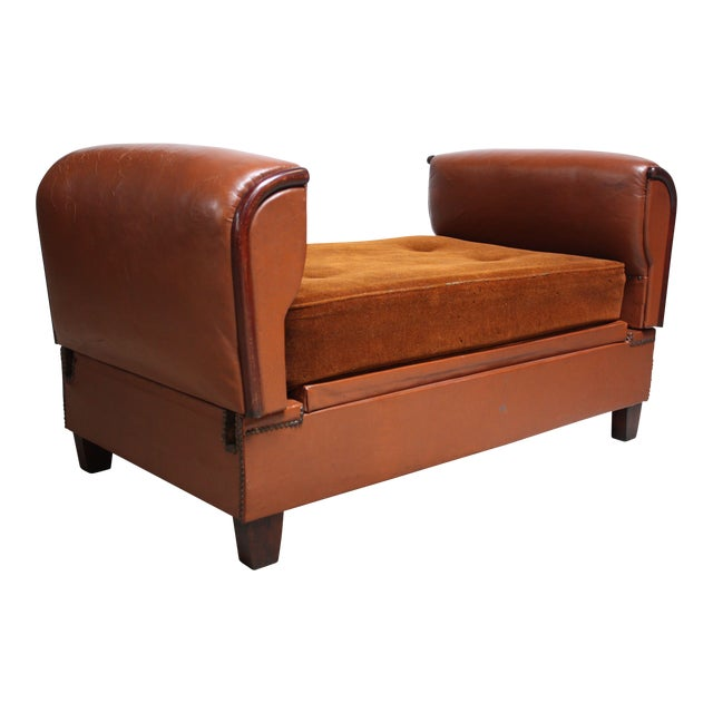 French Deco Leather and Mohair Daybed - Image 1 of 11
