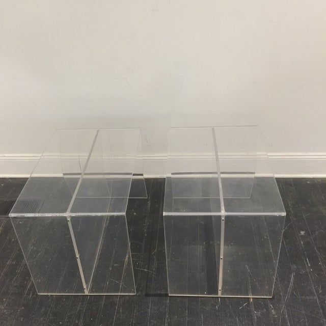 1970s Modern Charles Hollis Jones Lucite Side Tables - a Pair For Sale In San Antonio - Image 6 of 10
