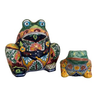 Vintage Talavera Pottery Frog - a Pair For Sale