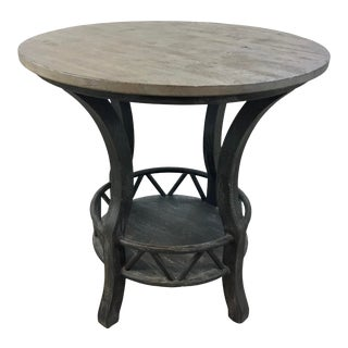 Rustic Gray and Brown Distressed Wood End Table For Sale